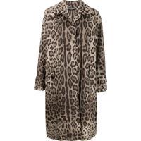 Dolce & Gabbana Casaco Animal Print - Marrom