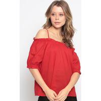 Blusa Ciganinha Com Franzidos - Vermelha - Chocoleitchocoleite