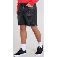 Bermuda Jeans Masculina Slim Destroyed Com Bolsos Preto