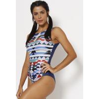 Body Com Pespontos - Preto & Azul Marinho - Patrapatra