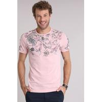 Camiseta Masculina Slim Fit Com Estampa Floral Manga Curta Gola Careca Rosa