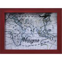 Quadro Cofre Map Vermelho 13X18Cm