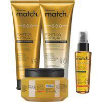 Combo Match Fonte Da Nutrição Fios Grossos: Shampoo + Condicionador + Máscara Capilar + Oleo Capilar
