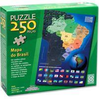 Quebra-Cabeça Mapa Do Brasil - 250 Peças - Grow - Unissex-Incolor