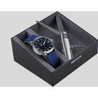Kit De Relógio Analógico Seculus Masculino + Canivete - 77038G0Svni1K Azul Marinho - Único