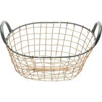Cesta Metal Bent Wire High Oval Preta E Cobre 29X22X13Cm Urban