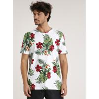 Camiseta Masculina Estampada Floral Manga Curta Gola Careca Branca