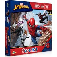 Kit De Atividades - Spider-Man - Quebra-Cabeça 200 Peças + Dominó 28 Peças + Jogo Da Memória 20 Pares - Toyster