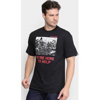 Camiseta Cavalera Básica Black Block Masculina - Masculino-Preto