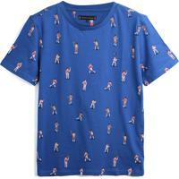 Camiseta Tommy Hilfiger Kids Menino Estampa Azul