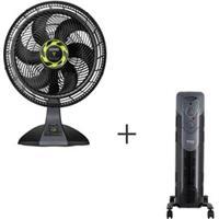 Ventilador De Mesa Arno Com 03 Velocidades Preto 110V - Vf6M + Aquecedor Aqcpaq A Oleo 110V - Philco