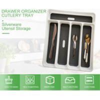 Drawer Organizer Talheres Tabuleiro De Armazenamento Talheres Utensílio 5 Seções Para Cozinha Escritório Sala De Jantar Grey 5