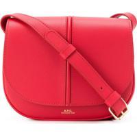 A.P.C. Logo Print Foldover Top Satchel Bag - Vermelho