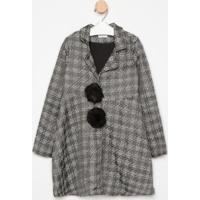 Casaco Alongado Texturizado- Cinza Escuro & Pretoluluzinha
