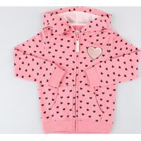 Blusão Infantil Estampado De Coração Em Moletom Felpado Com Capuz Rosa