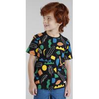 Camiseta Infantil Bento Estampada Prancha De Surf Manga Curta Gola Careca Preta