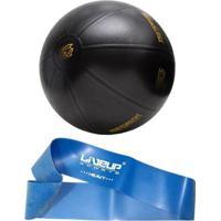 Kit Mini Bands Tensão Forte Azul Liveup Ls3650F + Bola Fit Ball Training 55Cm Pretorian - Unissex