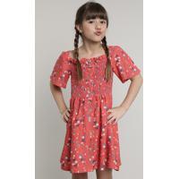 Vestido Infantil Com Linho E Botões Estampado De Natureza Manga Curta Vermelho