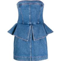 Philosophy Di Lorenzo Serafini Vestido Peplum Jeans - Azul