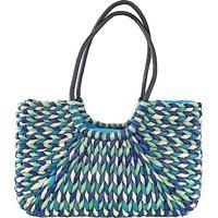 Bolsa Tote Palha Colorida Azul