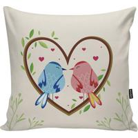 Capa Para Almofada Birds- Azul Claro & Rosa Claro- 4Stm Home