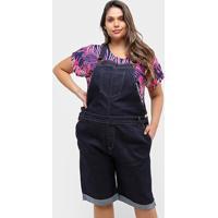 Macaquinho Jeans Xtra Charmy Plus Size Ciclista Feminino - Feminino-Azul