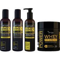 Kit Whey Fit Cream Yenzah - Shampoo Condicionador Leave-In Mascara
