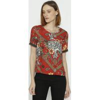Blusa Floral Com Tag - Vermelha & Verde - Sommersommer
