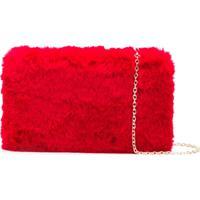 Love Moschino Fuzzy Clutch - Vermelho