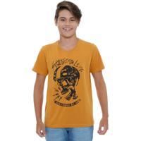 Camiseta Juvenil Manga Curta Estampa Caveira Maris