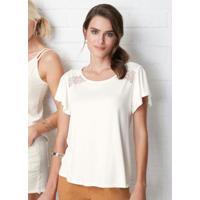 Blusa Branco Ampla Detalhe Em Renda Malwee