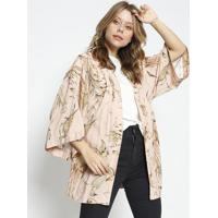 Kimono Com Tag - Rosa Claro & Bege Escuro - Sommersommer