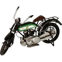 Miniatura Moto Bsa Decorativa De Metal Preto E Verde