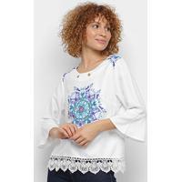 Blusa Pérola Bata Mandala Feminina - Feminino-Branco+Azul