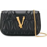 Versace Bolsa Transversal Mini Com Placa De Logo - Preto