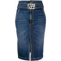 Pinko Camisa Jeans Midi Com Cinto - Azul