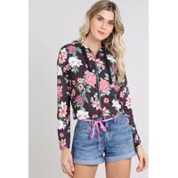 Blusão Feminino Estampado Floral Em Moletom Com Zíper Preto
