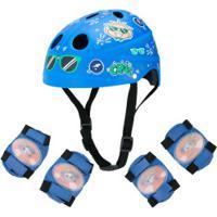 Kit Proteção Turma Da Mônica Cebolinha E Cascão Com 1 Par: Joelheiras + Cotoveleiras + 1 Capacete - Azul