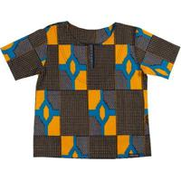 Blusa Bata Infantil Hype Kids Africana Moçambique Masculina - Masculino-Preto+Amarelo