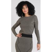 Suéter Feminino Estampado Geométrico Em Tricô Kaki
