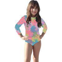 Body Maiô Proteção Solar Uv Infantil Moda Praia Piscina Lazer Tie-Dye Fluor