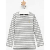 Blusa Listrada- Cinza & Branca- Primeiros Passoscostã£O Fashion