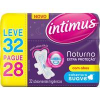 Absorvente Intimus Noturno Extra Proteção Cobertura Suave Com Abas Leve 32 Pague 28 Unidades
