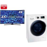 """Smart Tv Led 49"""" Uhd 4K Curva Samsung 49Ku6300 + Lavadora E Secadora De Roupas Samsung Wd10J6410Aw Branca - 10,2 Kg"""
