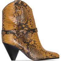 Isabel Marant Bota Cowboy Deane Com Salto 75Mm E Efeito Pele De Cobra - Amarelo