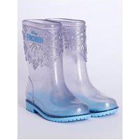 Bota Galocha Frozen Infantil Para Menina - Transparente/Azul