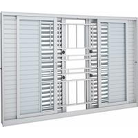 Janela De Alumínio De Correr Multiflex Aluminium Branca Com Grade Classic 6 Folhas 120X150X14 - Sasazaki - Sasazaki