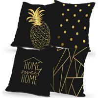 Kit 4 Capas De Almofadas Decorativas Own Home Sweet Home E Abacaxi 45X45 - Somente Capa