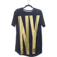 Camiseta Big Ny Longline Jota K Masculina - Masculino-Preto