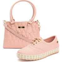 Kit Ousy Shoes Tênis Sapatênis Sola Tricê + Bolsa Baú Alça Mão Transversal Lançamento Rosê